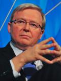 Kevin Rudd habla durante el evento AustraliaChina...